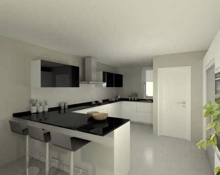 diseno de cocinas elegantes en blanco  negro