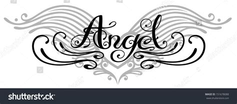 tattoo lettering with angel wings lettering angel with wings tattoo style stock vector