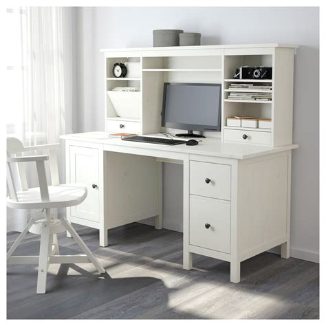 Hemnes Desk With Add On Unit White Stain 155x137 Cm Ikea Hemnes Computer Desk
