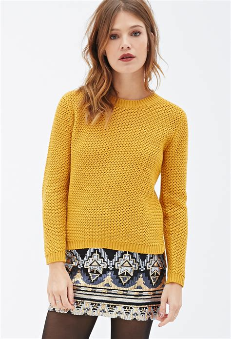 knit sweater with zig zag pattern forever 21 zigzag patterned knit sweater in yellow lyst