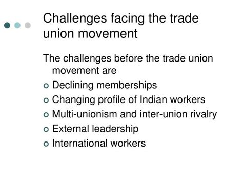 challenges facing international trade ppt trade unions powerpoint presentation id 3540148
