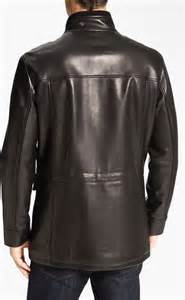 cole haan lambskin leather car coat in black for lyst