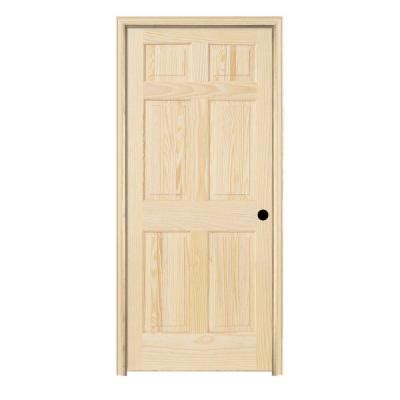 jeld wen woodgrain 6 panel unfinished pine single prehung