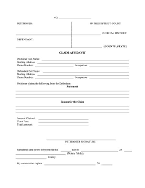 printable small claims affidavit legal pleading template