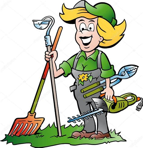 picture illustration cartoon illustration of a handy gardener woman standing