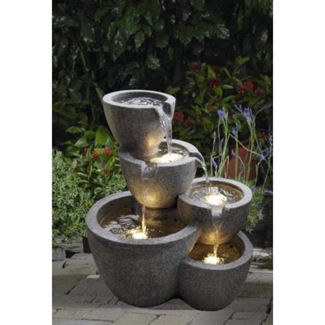 Lighted Outdoor Fountains 22 Quot Led Lighted Multi Tiered Pot Outdoor Patio Garden Water Walmart