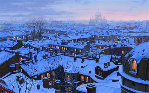 St Snow snow in st petersburg on rooftops wallpapers and images