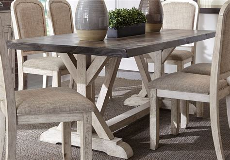 white rustic dining table set willowrun rustic white trestle dining table from liberty