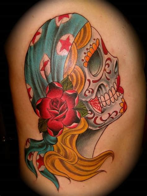 gypsy head tattoo sugar skull design tattooshunter