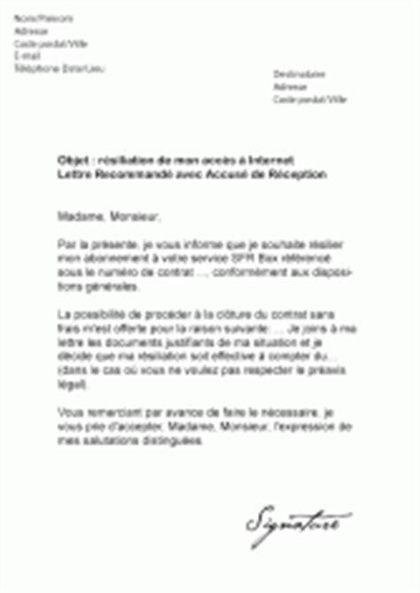 Lettre De Resiliation Free Haut Debit Mod 232 Les De Lettres De R 233 Siliation Pour