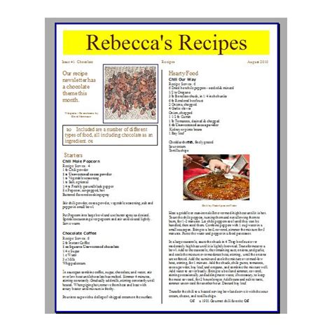 create a newsletter template tips for creating a recipe newsletter or cooking phlet