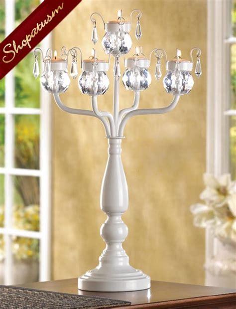 12 wholesale white metal crystal centerpieces candelabra