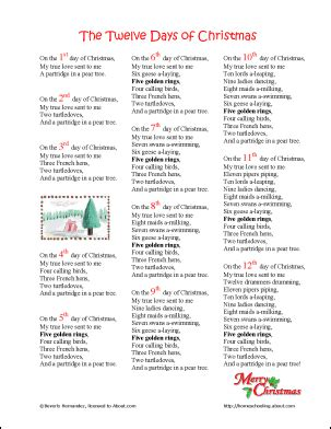 printable lyrics for 12 days of christmas make your own 12 days of christmas coloring book