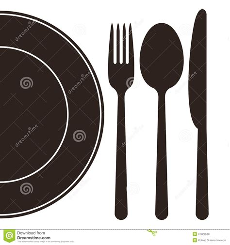 Plate, Fork, Spoon And Knife Stock Vector   Image: 31023530
