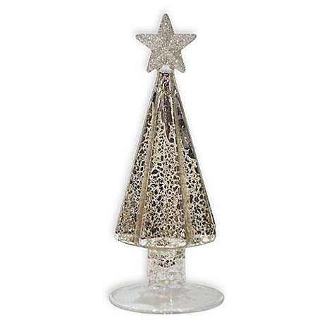 6 inch glass christmas tree in antique silver bed bath