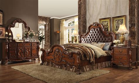 Pulaski Nightstand 4 Pc Acme Dresden Tufted Bedroom Set In Cherry Finish