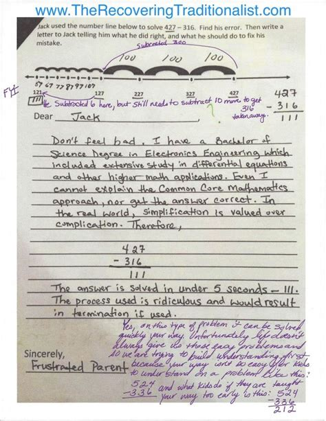 Parent Letter Explaining Common Response To Common Math Number Line Problem The Recovering Traditionalist Addition
