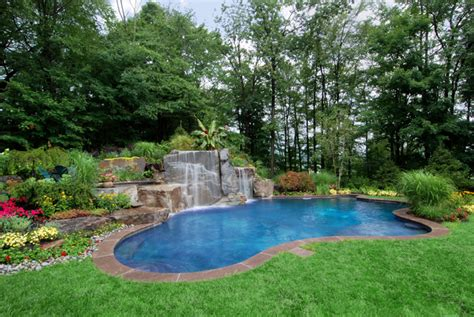 Backyard Landscaping Ideas With Pool Backyard Swimming Pools Waterfalls Landscaping Nj
