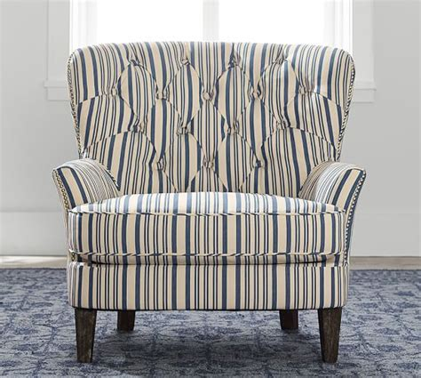 cardiff tufted armchair cardiff upholstered tufted armchair with nailhead antique stripe pottery barn