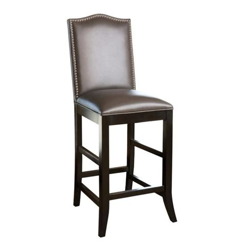 nailhead bar stool leather abbyson living royal 27 quot leather nailhead trim bar stool