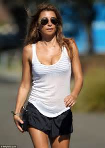As she models her own eye popping sportswear range daily mail online