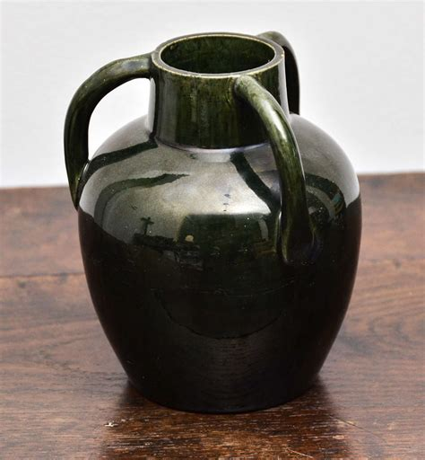 Glass And Ceramic Vases by Green Ceramic Vase With Three Handles At 1stdibs