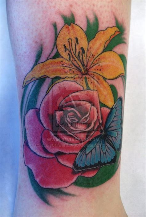 rose and lily tattoo and shoulder shoulder tattoos think