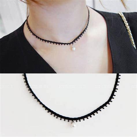 Kalung Korea Fashion Choker Gotik best fashion korean black pearl pendant faux leather