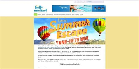 Live With Kelly And Michael Sweepstakes - live s summer escape tune in to win sweepstakes