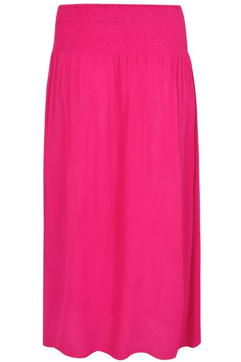 Maxi Pink pink maxi skirt with ruched waistline plus size 16 to 36