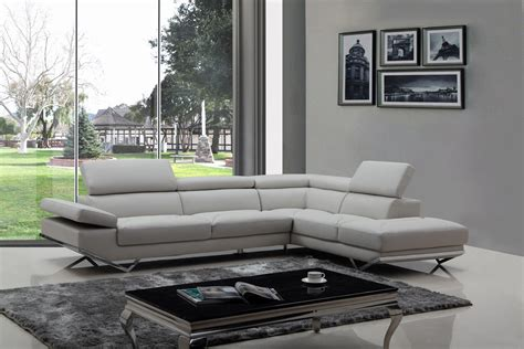 contemporary living room design with grey faux leather divani casa quebec modern light grey eco leather sectional