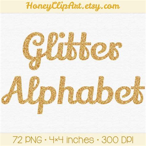 free printable glitter fonts gold glitter alphabet clip art digital glitter by