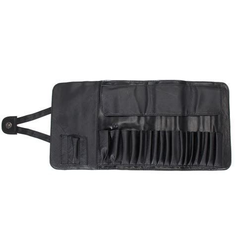 Roll On Pouch Slot 3 12 18 24 slots black faux leather cosmetic makeup brushes holder roll bag pouch for