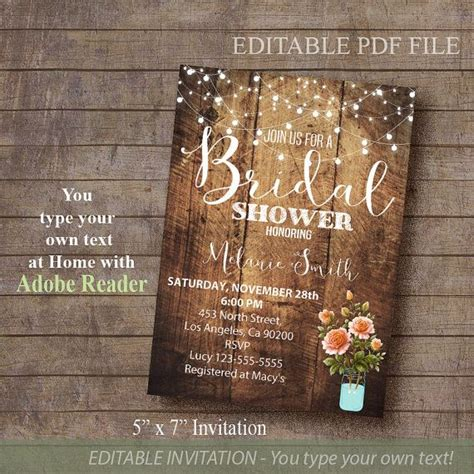 free printable bridal shower invitations rustic bridal shower invitation rustic invite printable by
