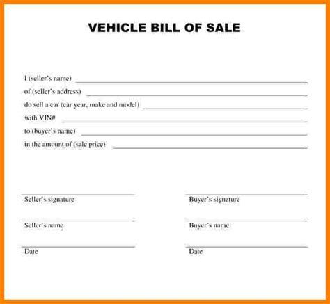 Bill Of Receipt Template by 8 Vehicle Bill Of Sale Template Word Sle Travel Bill