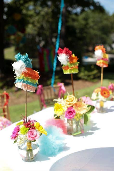 Mini Pinatas In Floral Arrangements For Table Centerpieces Mexican Centerpieces Ideas