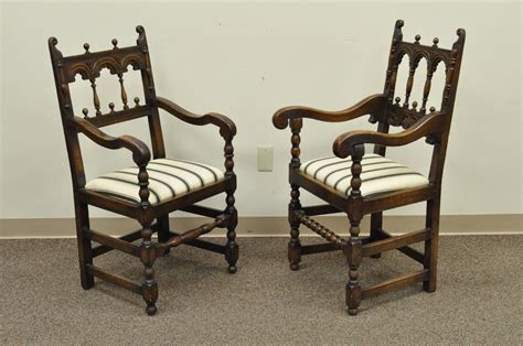 Set of Eight Solid Carved Oak 1930s Jacobean or Gothic
