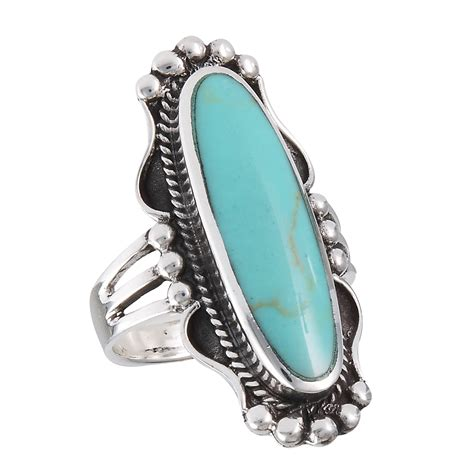 new elongated 925 sterling silver turquoise ring sizes 6 10