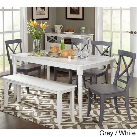 simple living axis 6 dining set with bench simple living 6pc albury dining set with bench 6