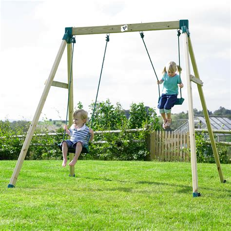 double swing sets tp forest double swing 2 wooden swings comparison site
