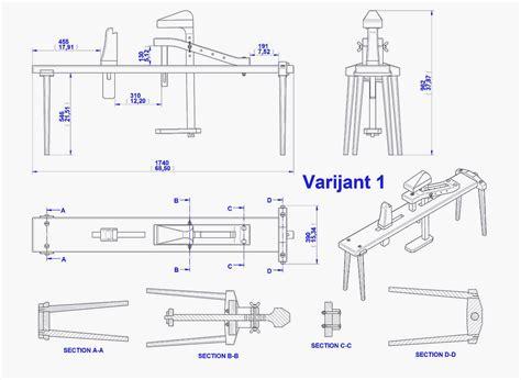shaving horse plan assembly  drawing variant