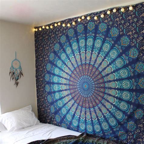 blue hippie floral mandala tapestry bedspread bed cover hippie mandala tapestry indian blue floral psychedelic
