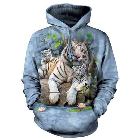 713252 The Mountain Sweater White Tiger Crew Neck white tigers of bengal sleeve clothingmonster