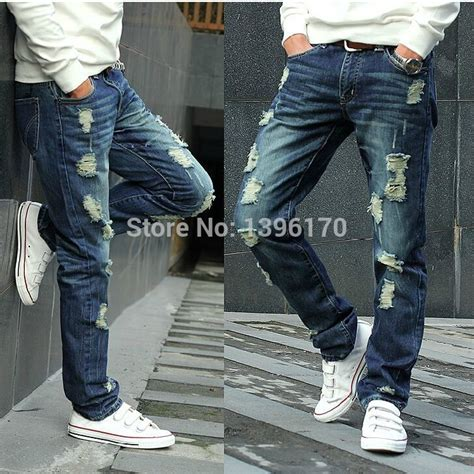Ripped Denim Washed Bigsize Size 363840 2015 Autumn High Quality Torn Washed Slightly Tapered