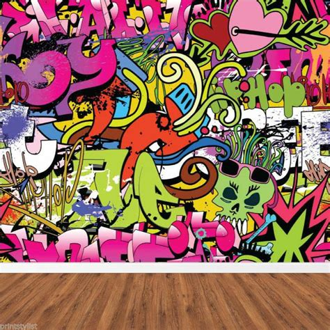 graffiti wallpaper ideas retro graffiti hip hop urban background vandal wall mural