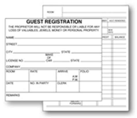 hotel motel registration cards forms national