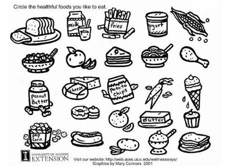 Coloring Page Healthy Food Nutrition Kindergarten Healthy Foods Coloring Page