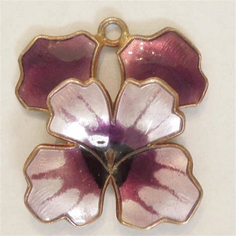 David Andersen Purple Guilloche Enamel and Sterling Silver Pansy Charm from the big o on Ruby Lane