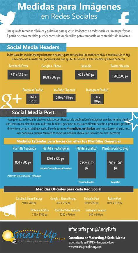 infografia tamaño imagenes redes sociales medidas de las im 225 genes en redes sociales infografia