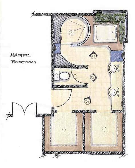 Master Bath Plans by Master Bath Rendered Plan View
